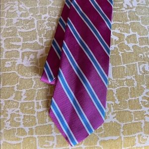 Brooks Basics magenta striped silk necktie